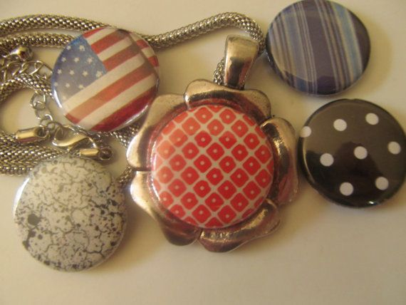 Magnetic Necklace. You can change the inside 'button' to coordinate with your outfit! Too cute!