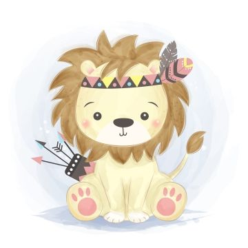 Adorable Acuarela Tribal León Ilustración, Adorable, Animal, Baby Shower PNG y Vector para Descargar Gratis