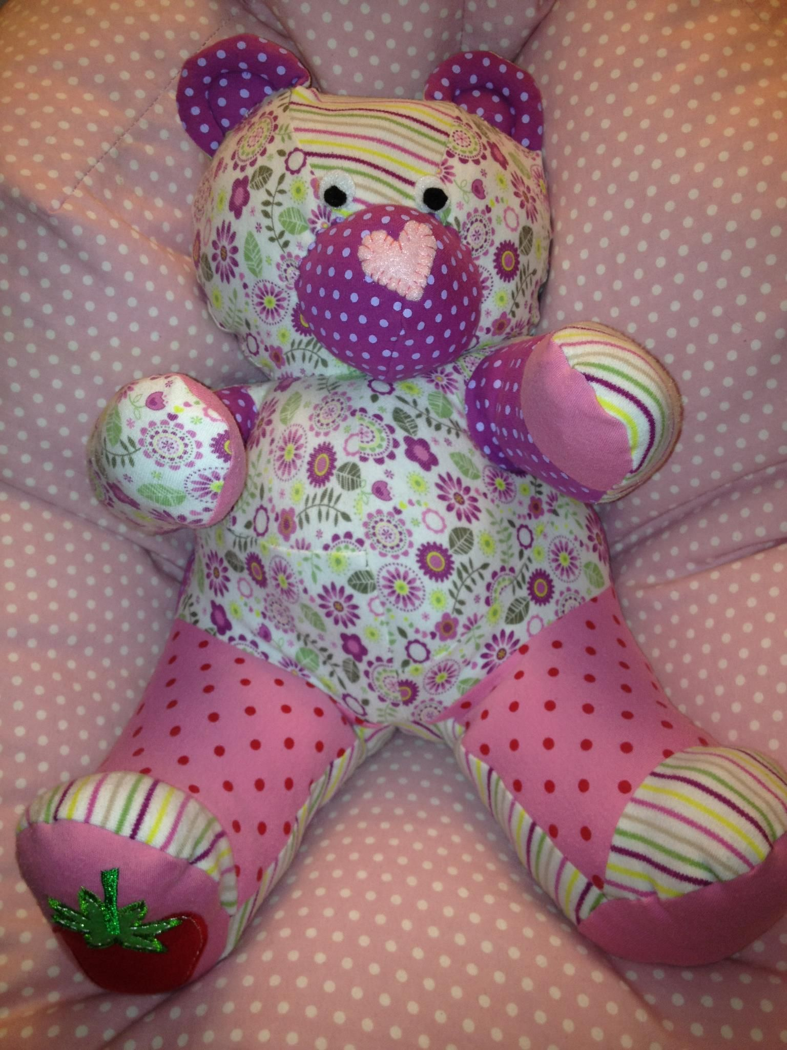 Love this idea Make a teddy out of old baby clothes for your own or