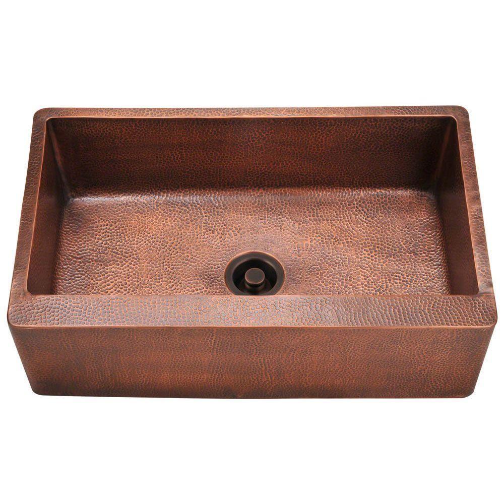 MR Direct Farmhouse Apron Front Copper 33 in. Single Bowl