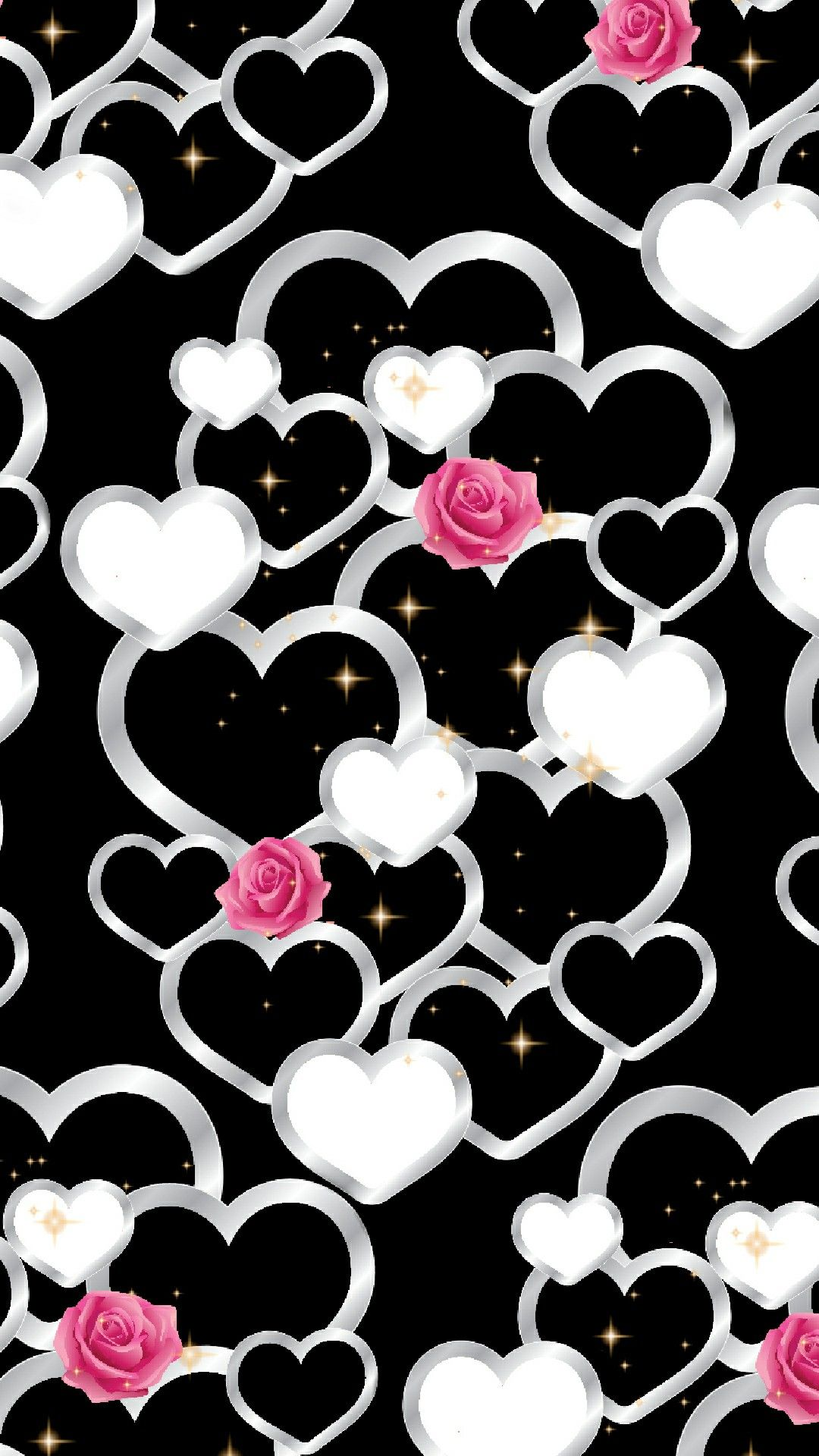 Heart & Roses Wallpaper By Artist Unknown