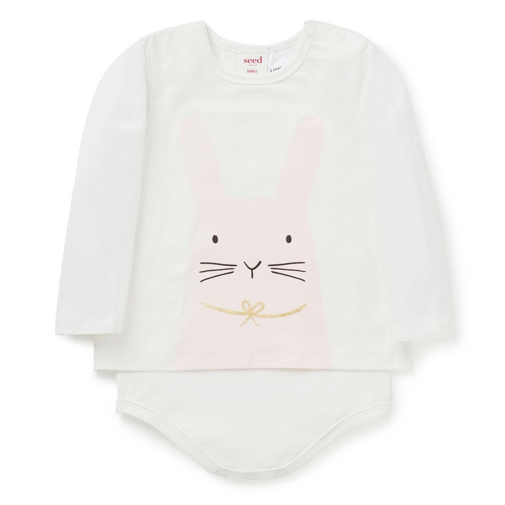 8e6eed76f94a Cotton Elastane blend Bodysuit. Long sleeve t-shirt style bodysuit ...