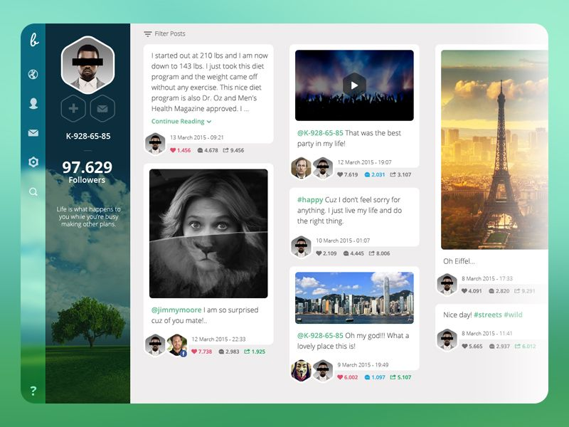New Social Website Profile Page by Ekrem Ates