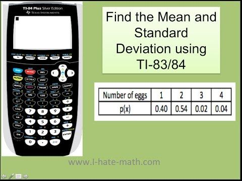 Elementary Statistics Finding Std Dev And Variance Of A Discrete Random Variable On Ti 83 84 Youtube Standard Deviation Internet Security Probability