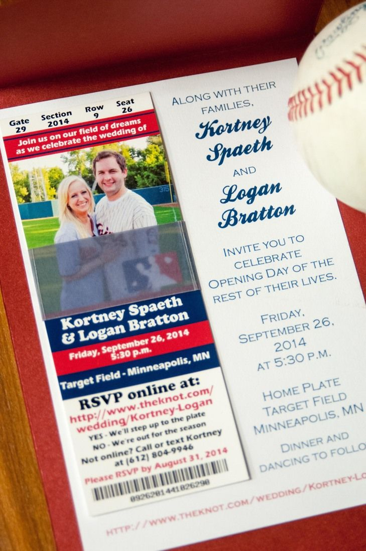 Baseball Themed Wedding Invitation Minnesota Wedding Invitations