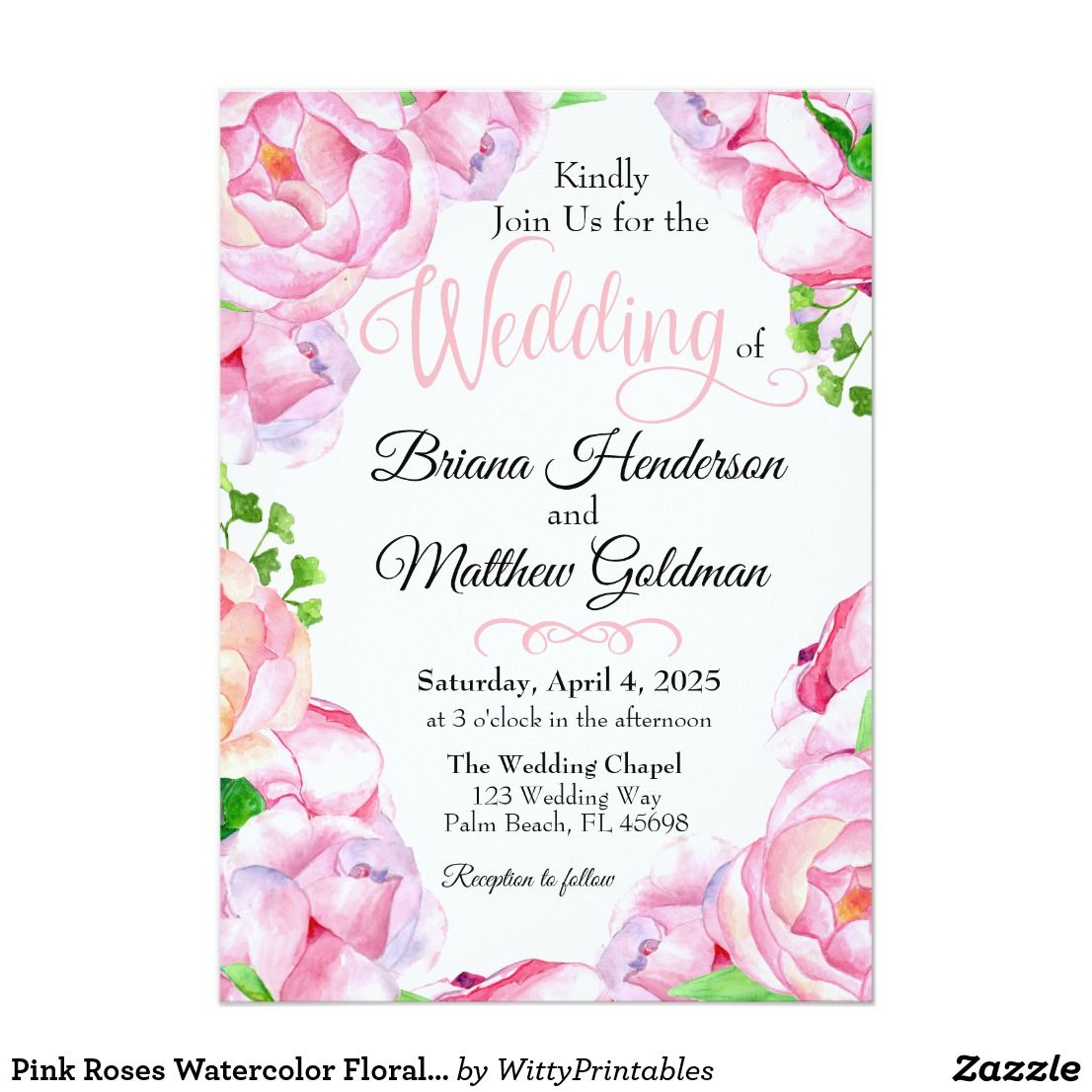 Pink Roses Watercolor Floral Wedding Invitation Floral Wedding And