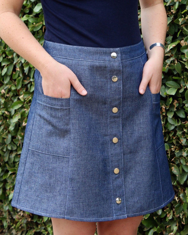 Ally Skirt PDF Pattern Blue Dot Patterns Denim skirt