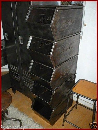caisse bac boite de rangement en m tal meuble a casier design industriel atelier deco. Black Bedroom Furniture Sets. Home Design Ideas