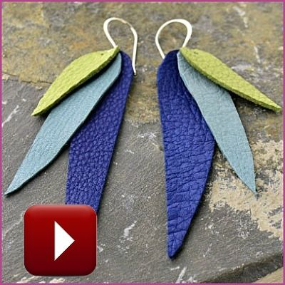 FREE how to video. Learn to make these leather petal earrings! Click here: http://www.ninadesigns.com/handmade_jewelry_videos/leather_petal_earrings.html