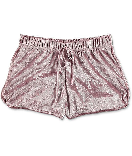 8a43bd6ec198b4 Keep your look trendy and cute with the light pink crushed velvet shorts  from Lunachix.