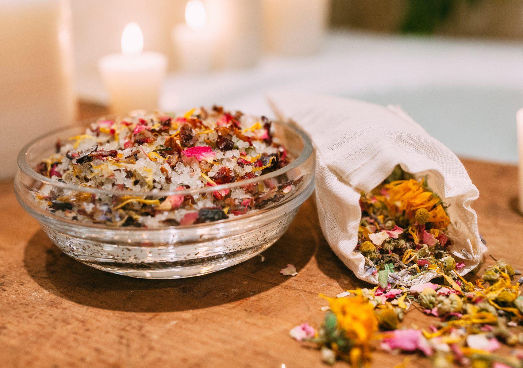 Flowerpowered sea salts recipe in 2020 herbal bath