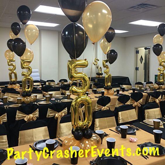 Birthday gold black party balloon decor linen