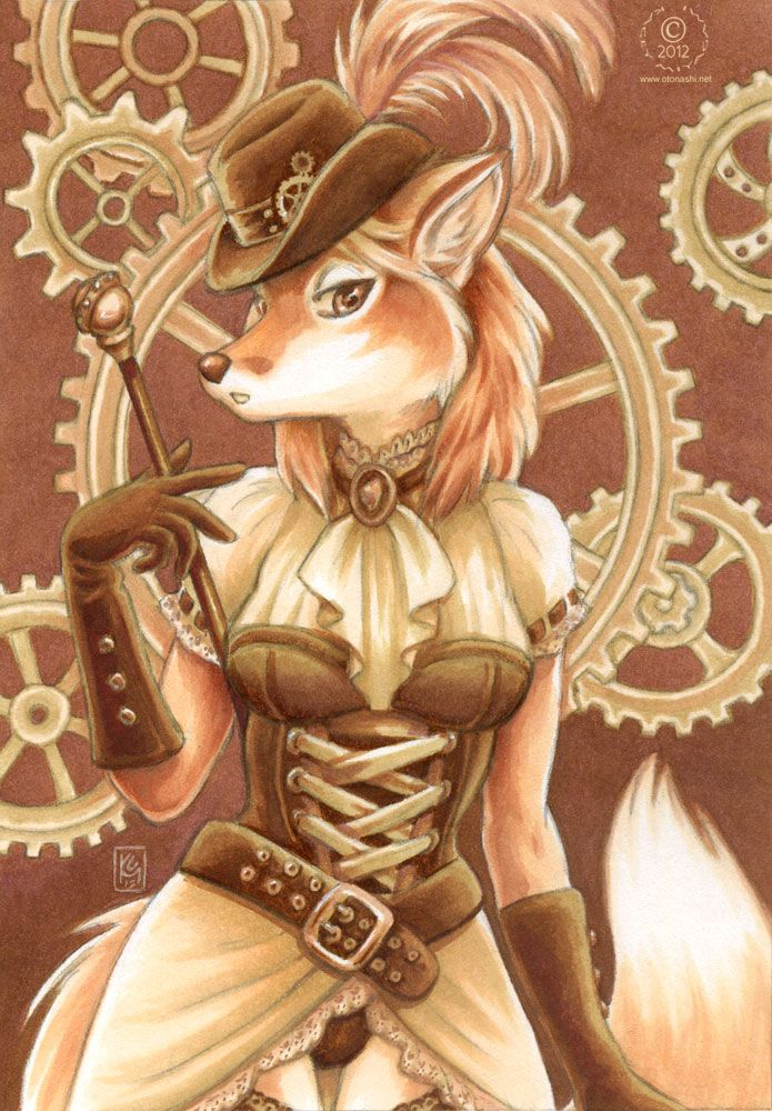 Steampunk Fox furries Fan Art Love Steampunk