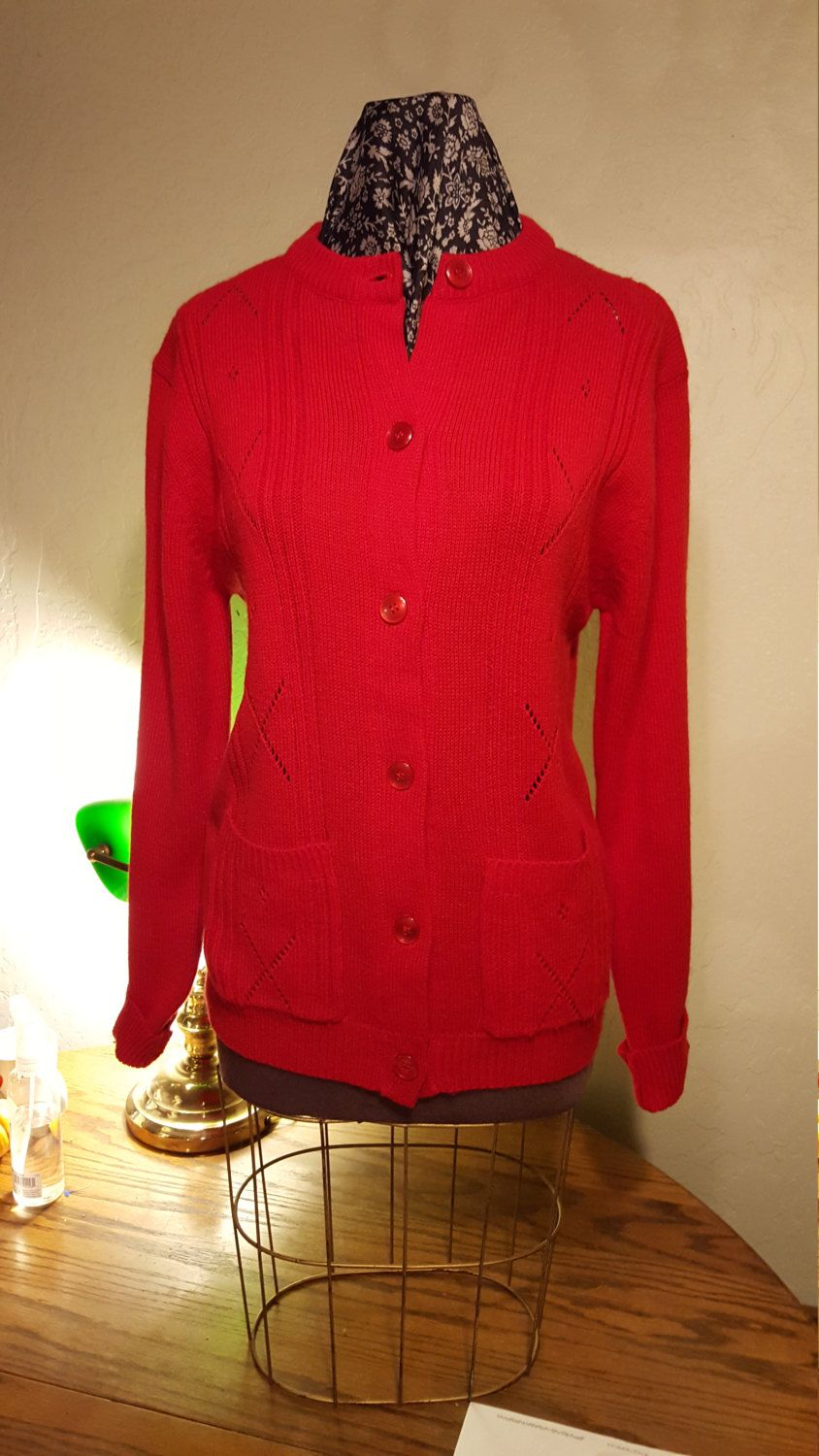 Cherry Red Vintage Cardigan Cherry Red Red Color And Shoulder