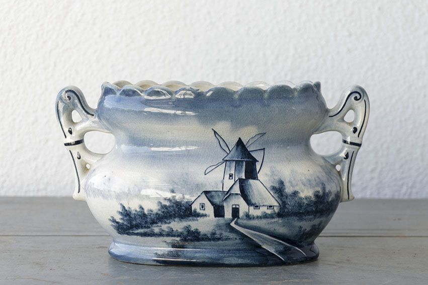 Centro de mesa cerámica holandesa con dibujo de molinos