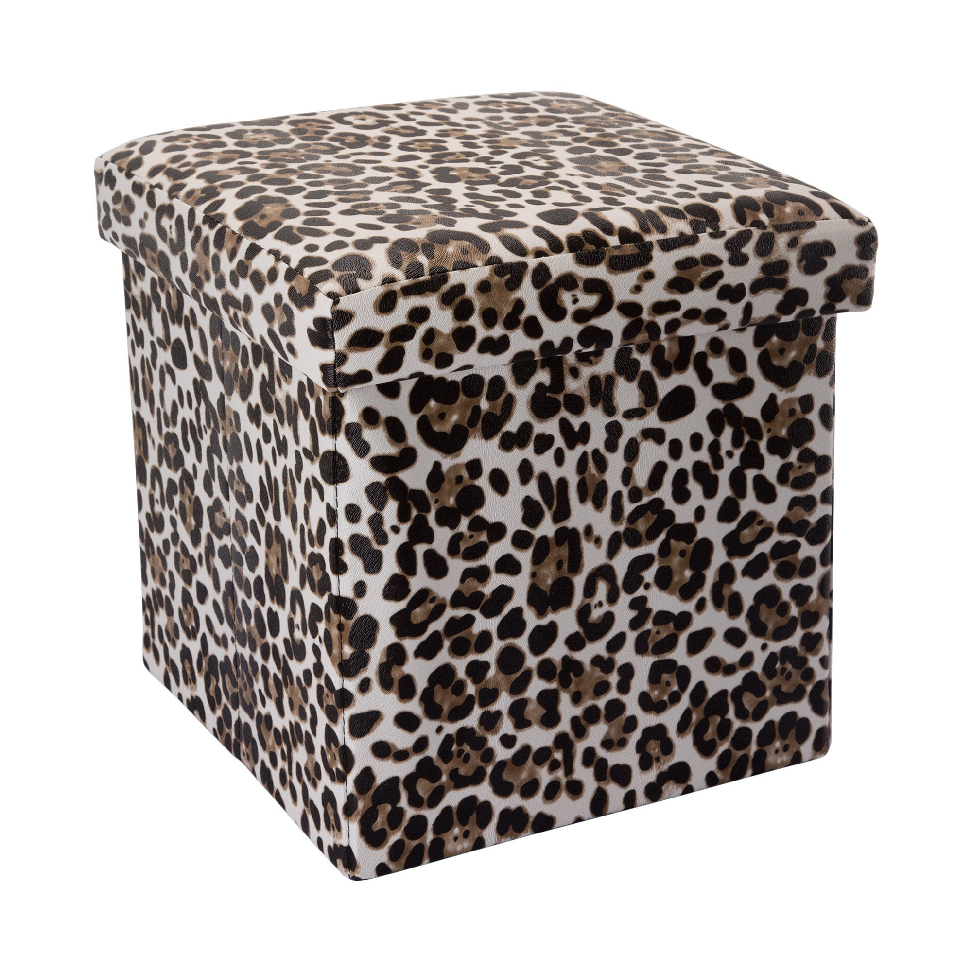 Intirilife Pouf Pliable 30x30x30 Cm En Motif Leopard Boite De Rangement Decorative En Tissu Aspect Lin Pour G In 2020 Outdoor Decor Outdoor Furniture Outdoor Ottoman