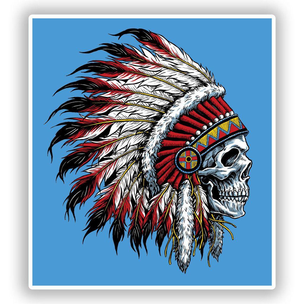 2 x native american skull headdress vinyl stickers 7682€