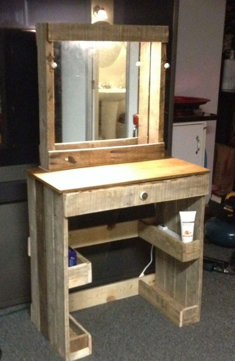 Pallet Dresser Table Ideas For Your Home Or Bedrooms Because I M A Crafty Bitch In 2019 Pallet Vanity Pallet Dresser Pallet Furniture