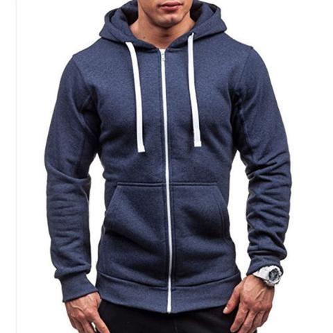 b6e6713df98 Newly Fashion Men s Casual Solid ColorLong Sleeve Sweatshirt Males Zipper  Winter Warm Hoodie Classic Hooded Cotton Sweatshirt