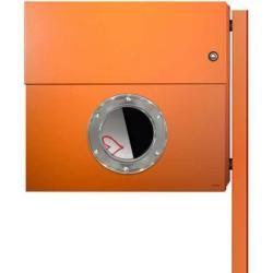 Photo of Radius Design Letterman Xxl Briefkasten orange (ral 2009) mit Klingel in rot mit Pfosten in Briefkas