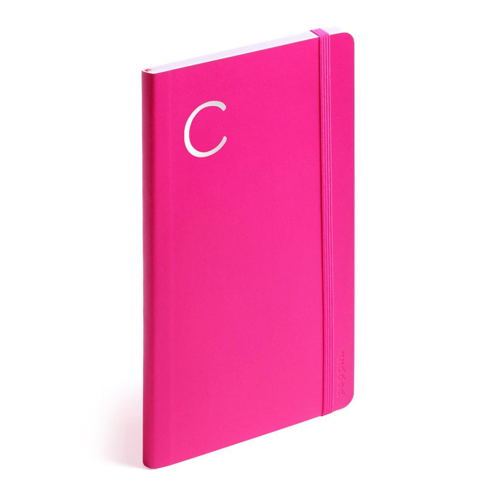 Pink Medium Soft Cover Notebook with Silver Initial