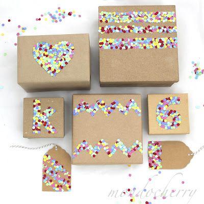 Confetes nas embalagens de presentes