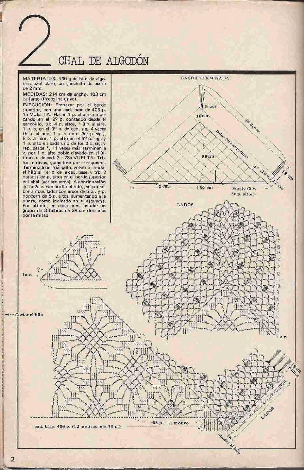 75 Chal o Poncho de Algodón a Crochet … | Pinteres…