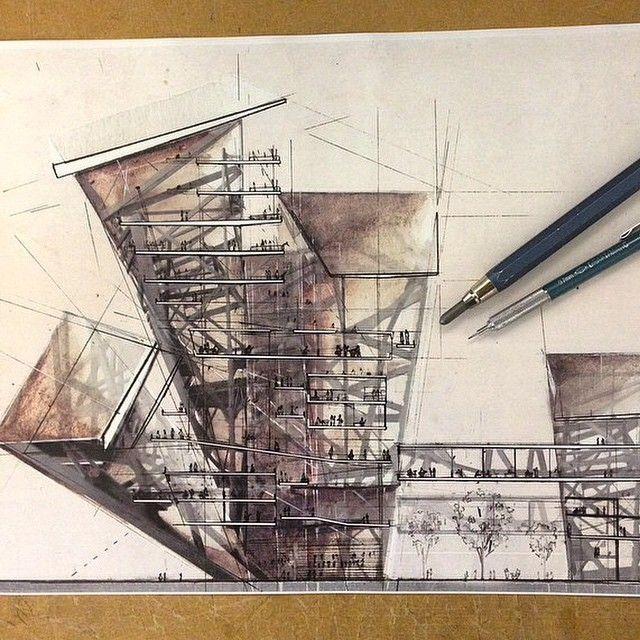 Pin by a y architects d f design on inspiration idea architectural sketchs architektur - Architektur skizzen zeichnen ...