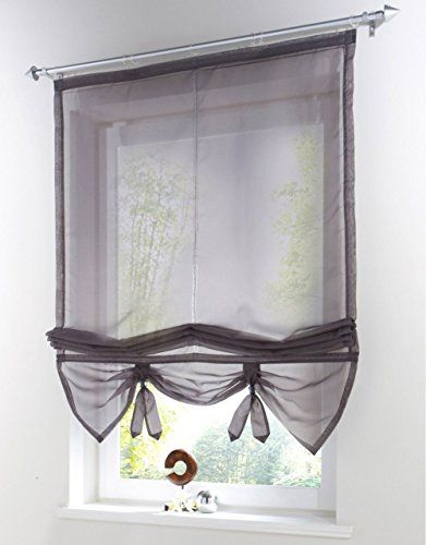 Uphome 1pcs Liftable Organza Kitchen Balcony Curtains - Tie-Up Roman Window Shades - Sheer Voilet Window Vanlance,40 by 61,Dark Grey