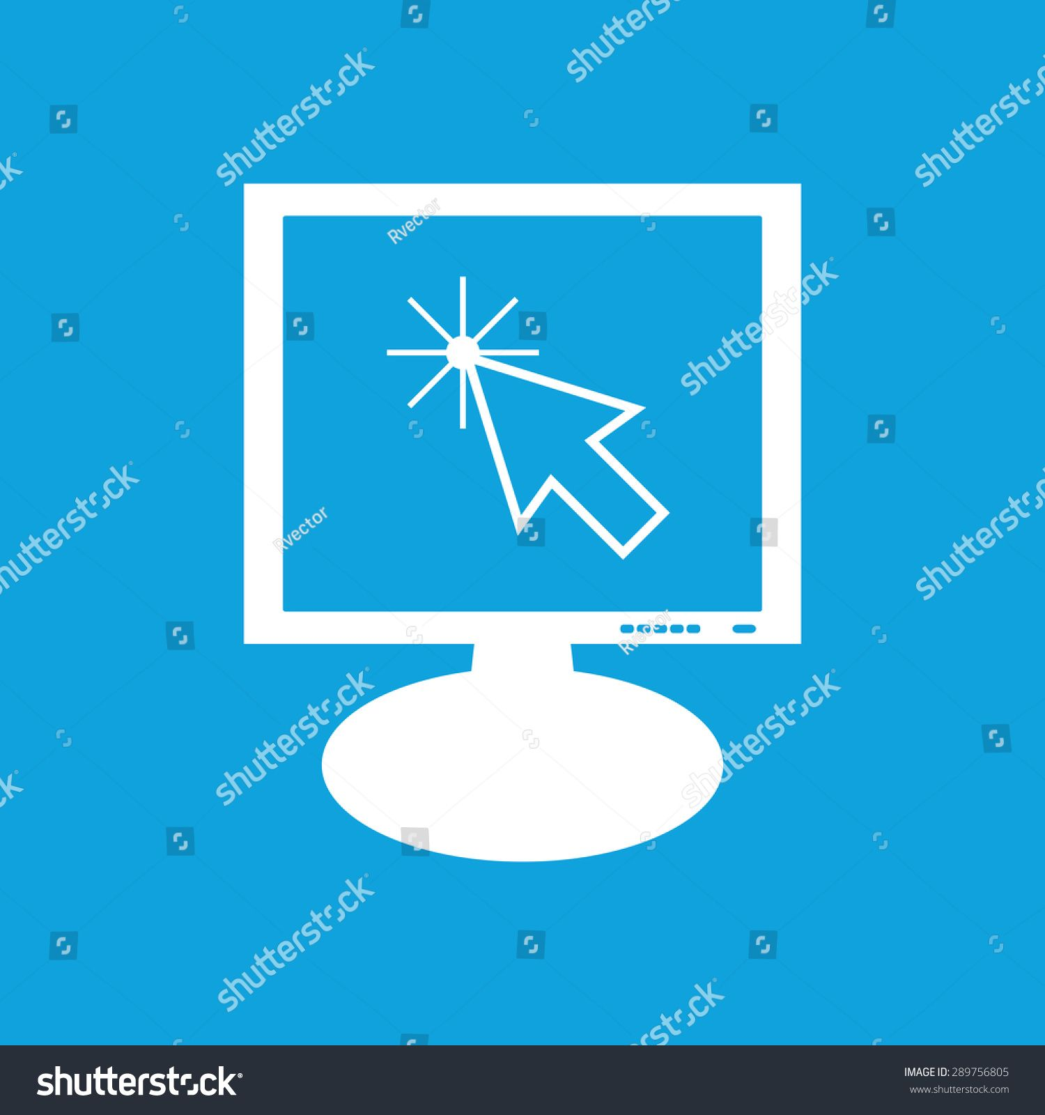 Icon with image of arrow cursor on the screen, isolated on