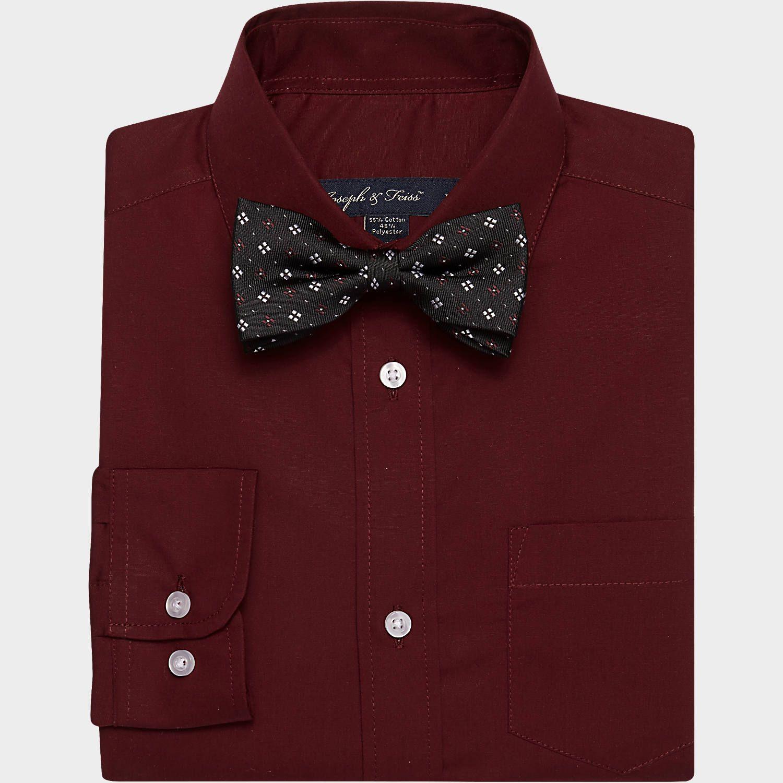 Buy A Joseph Feiss Boys Burgundy Shirt Bow Tie Set Online At