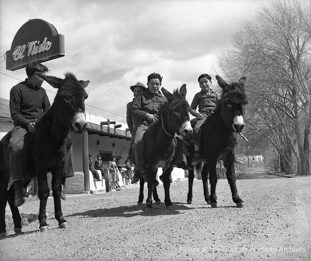 Boys riding burros, Tesuque, New Mexico Photographer T