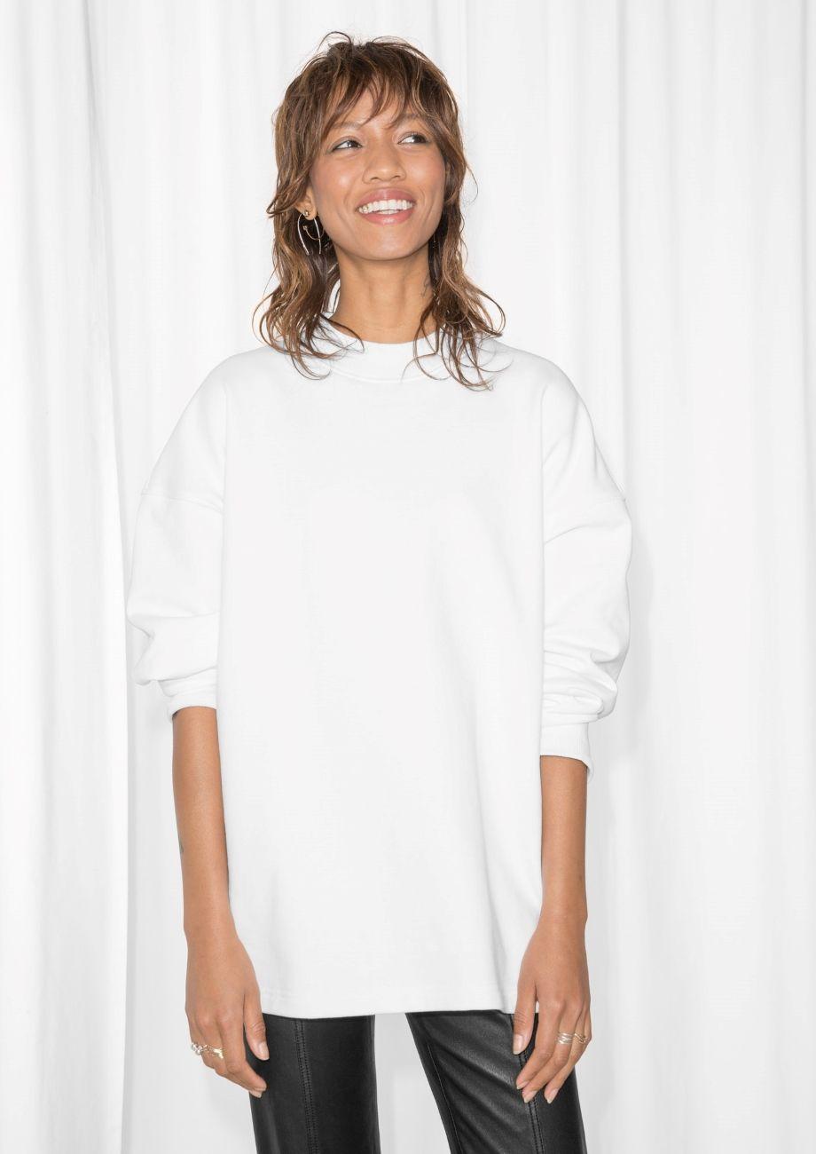 Other Stories Image 2 Of Oversized Sweatshirt In White Tops Womens Tops Oversized Sweatshirt [ 1300 x 920 Pixel ]
