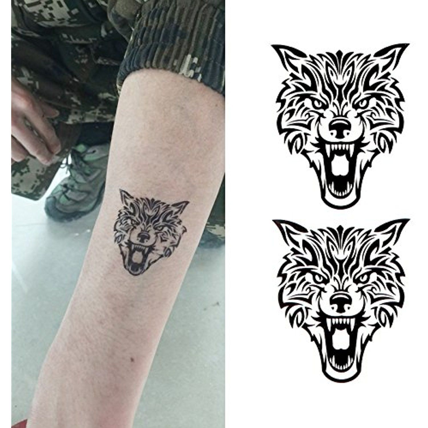 Oottati Small Cute Temporary Tattoo Wolf Totem 2 Sheets Read More At The Image Link This Is An Affiliate Link And Wolf Tattoos Tattoos Temporary Tattoos
