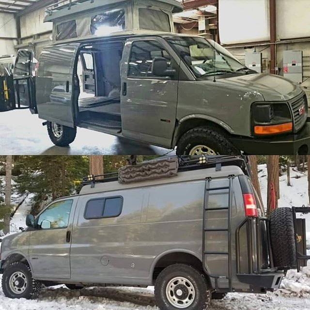 Chevy Van With Aluiness Roof Rack Ladder And Front And Rear Bumpers And Pop Top From Sportsmobile In 2020 Chevy Van Roof Rack Sportsmobile