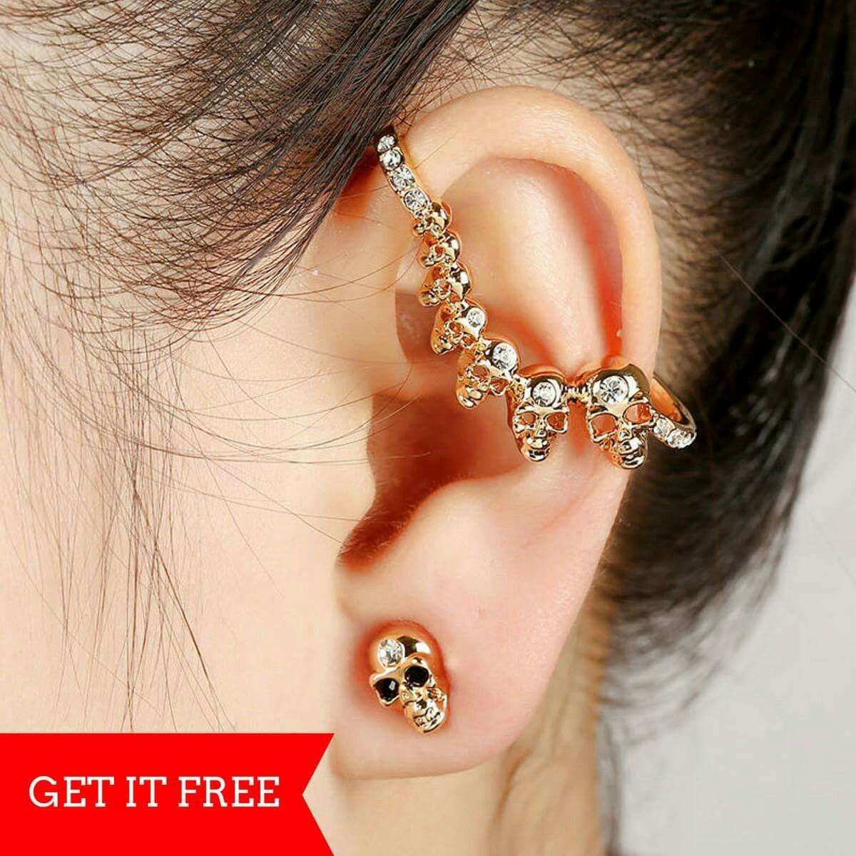 Want this crystal cuff skull earrings free just pay shipping get price tracker and history of 2017 new crystal cuff earrings double side earrings for women ear skull hiphop steampunk cool clip earrings baditri Choice Image