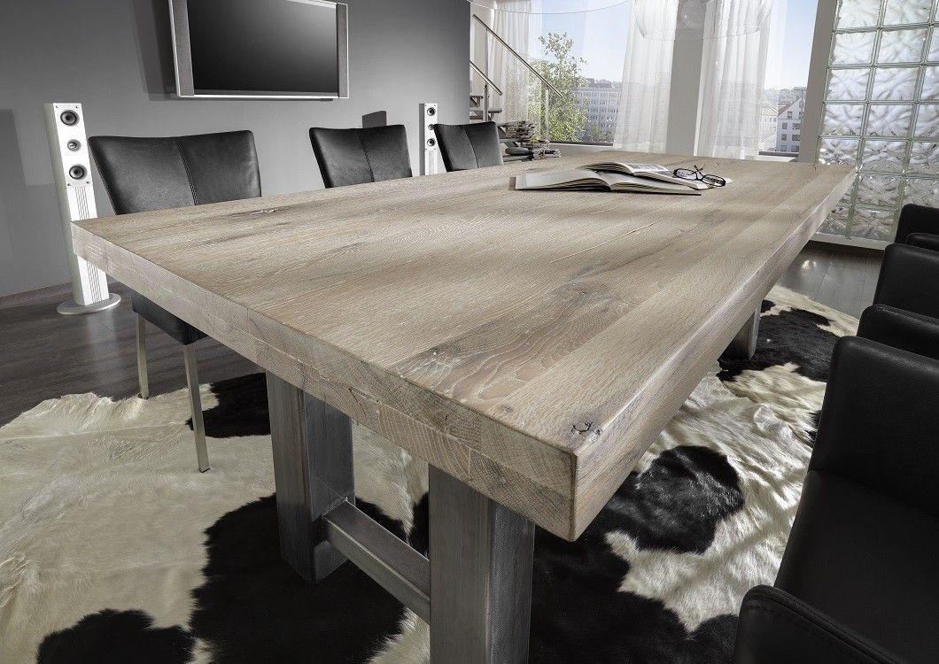 Erstaunlich Holztisch Eiche Galerie Von Esstisch Stahl Miami Und Ansteckplatten Pickupmöbel.de