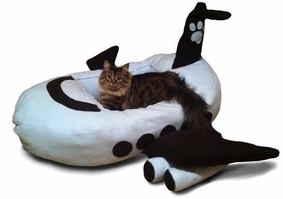 Baby Blue Fleece JUMBO JET AIRPLANE Pet Bed  Cat & by RONInCHEESE, $198.99
