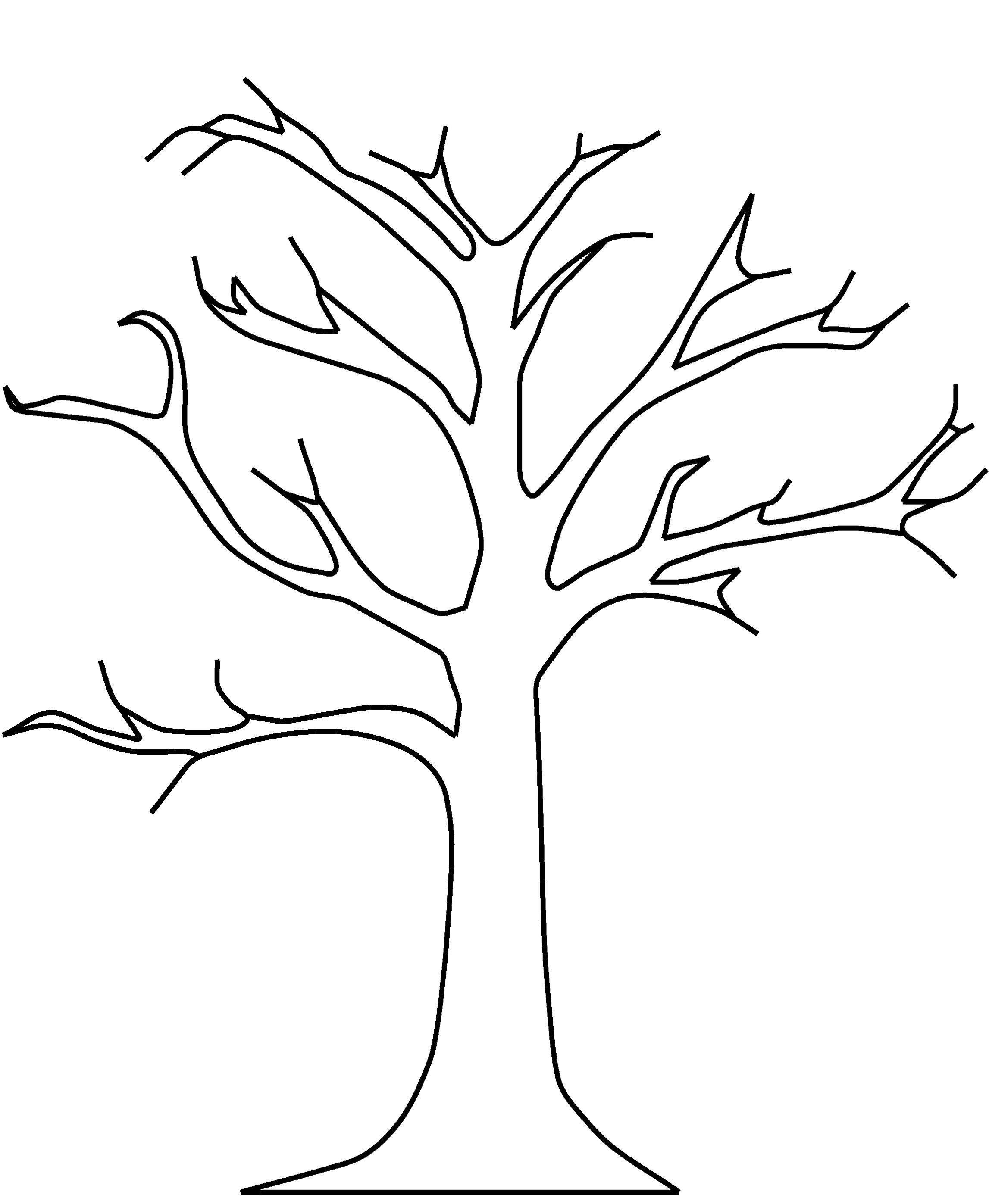 Autumn Tree Coloring Pages Baum Umriss Herbst Ausmalvorlagen