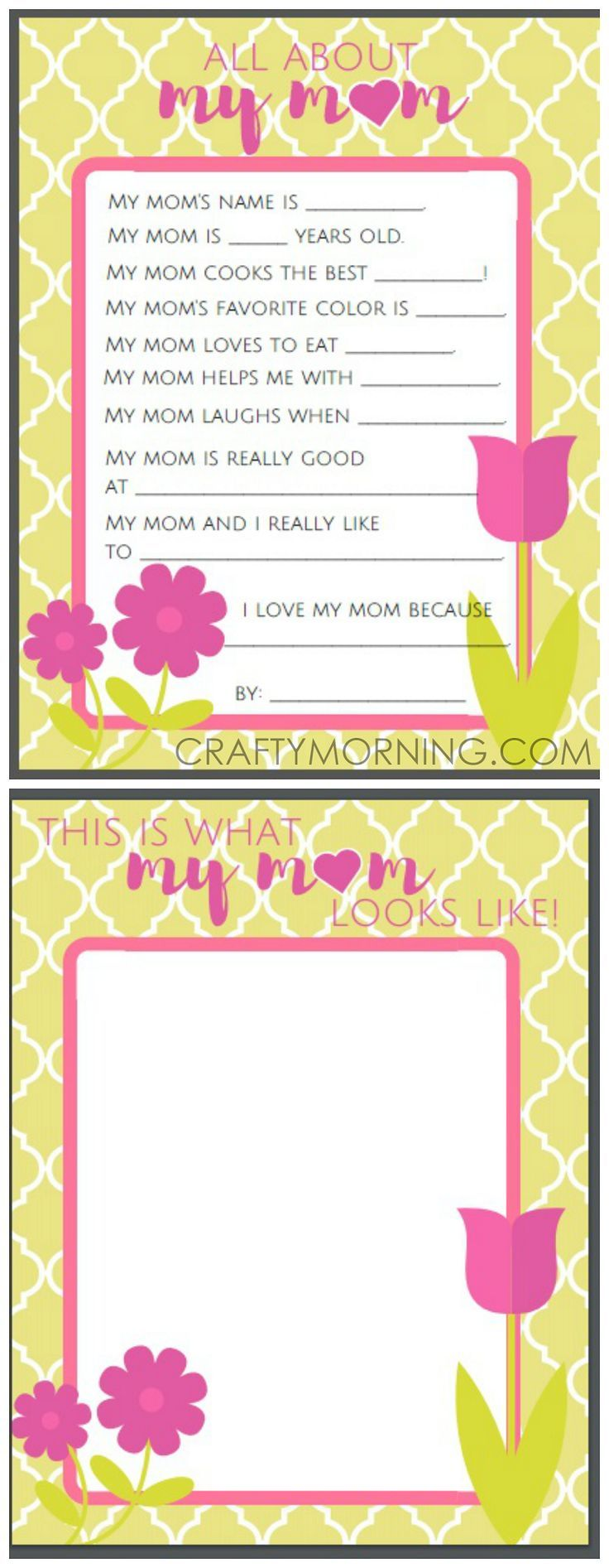 All About Mom Or Grandma Questions Free Mothers Day Printables For Kids To Fill Out