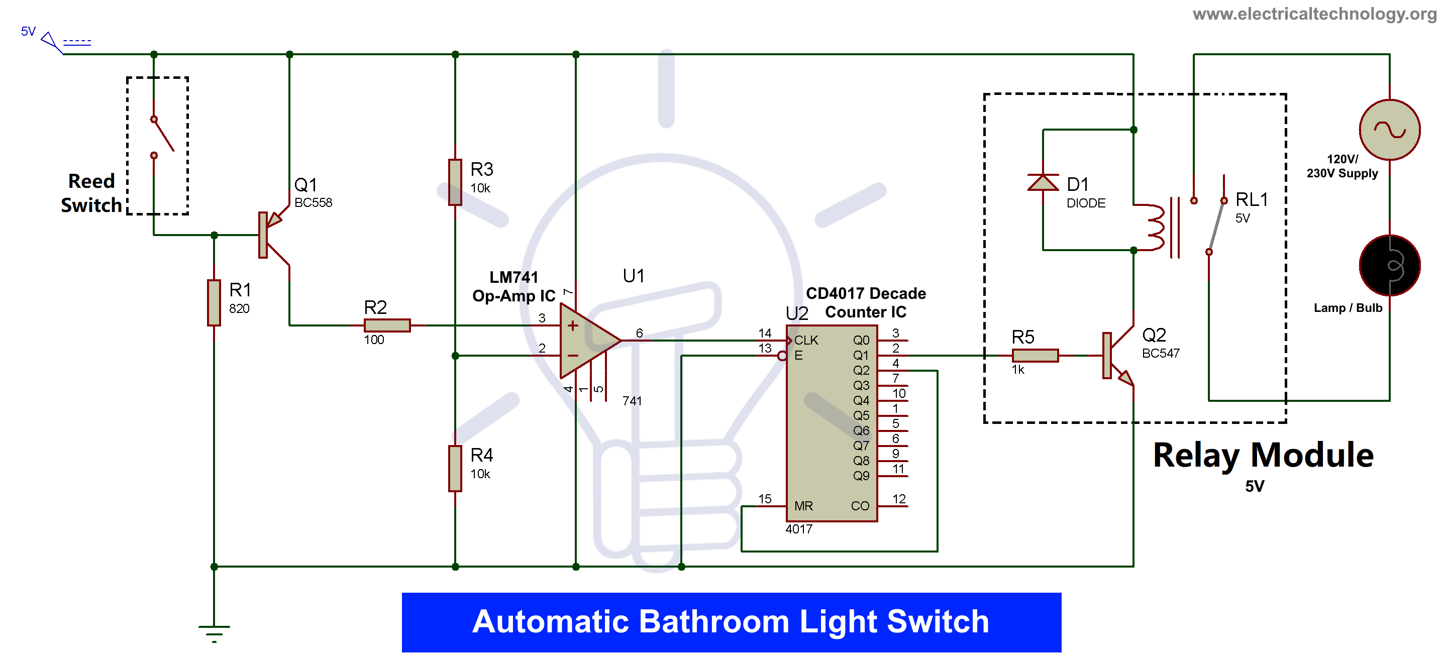 Automatic Bathroom Light Switch Circuit Diagram and ...