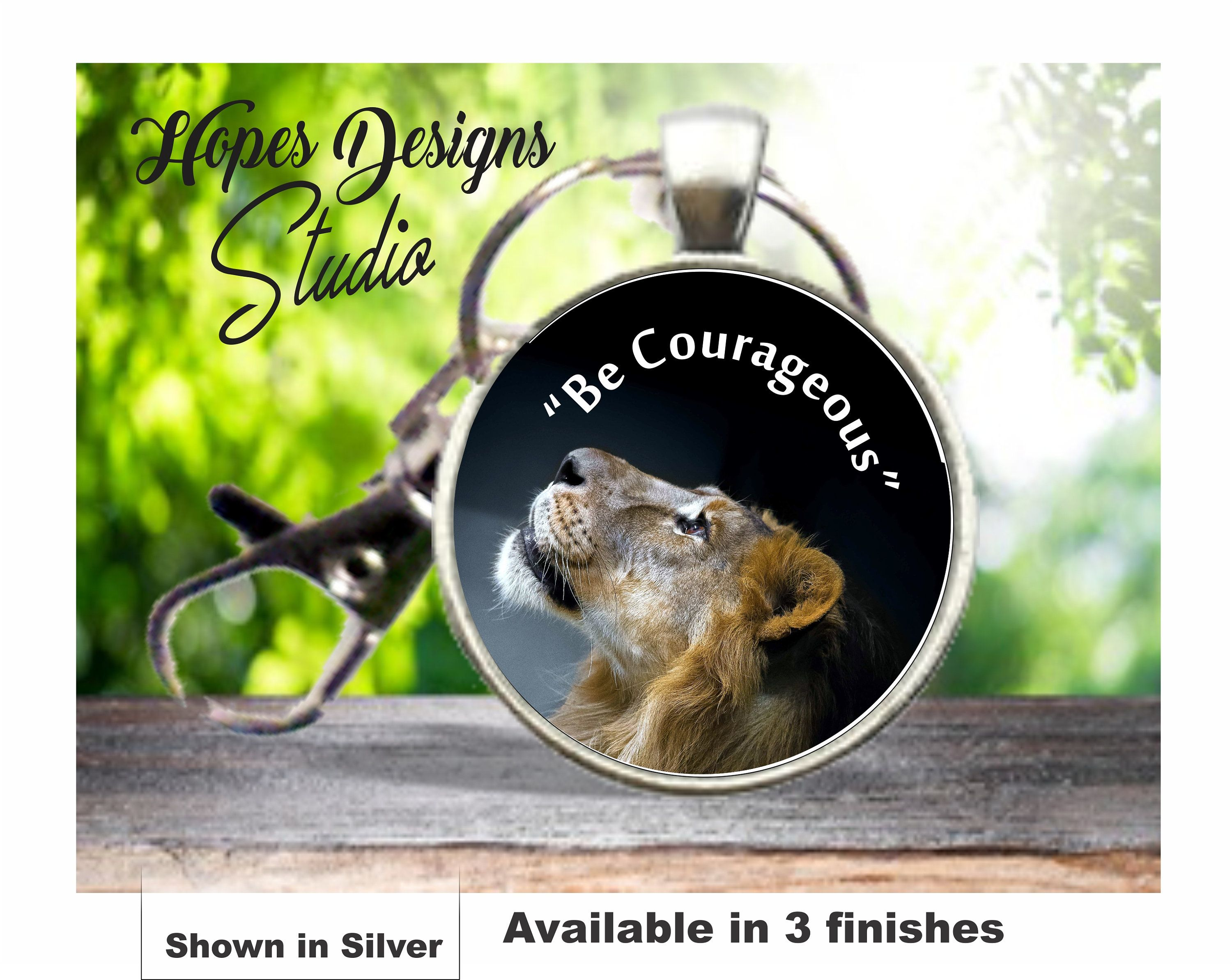 JW gifts/round key ring with clip/'Be Courageous' lion night sky/jw