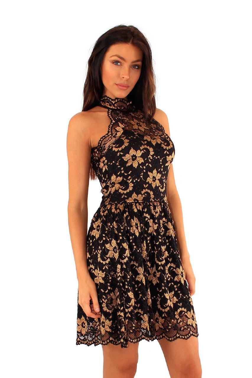 Halter neck lace lined skater dress gold black party dresses