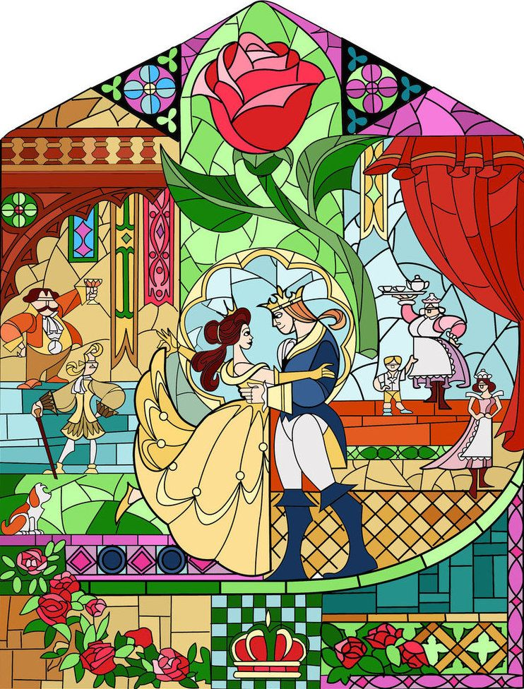 Beauty And The Beast Stained Glass Window Disney Stained Glass