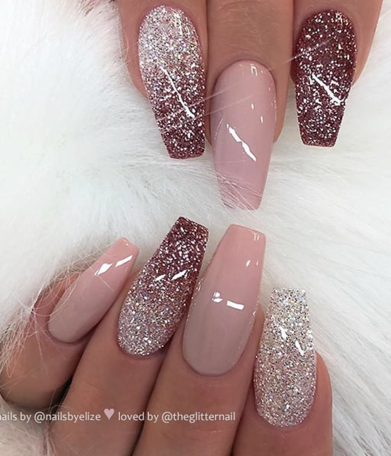 Glitter Coffin Nails Acrylic Coffin Nails Champagne Coffin Nails Coffin Nails Glitter Light Pink Nails Ballerina Pi In 2020 Rose Pink Nails Prom Nails Pink Ombre Nails