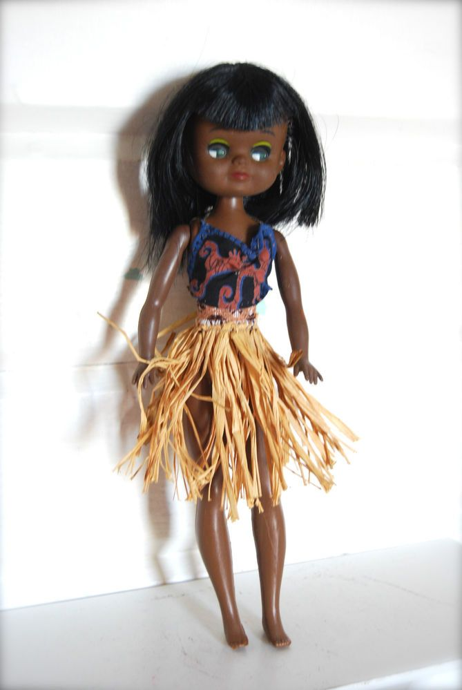 Vintage Big Eyed 1960's Doll, African, Hong Kong, Clone Blythe/Kamar style