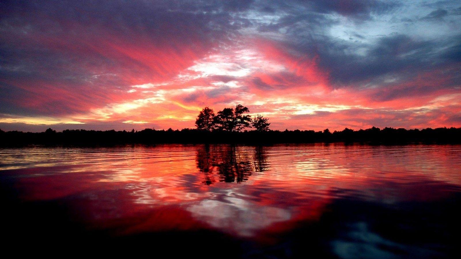 Download Wallpaper Landscape Night Sunset River Pond Beach Forest Trees Landscapes Resolution 1600x900