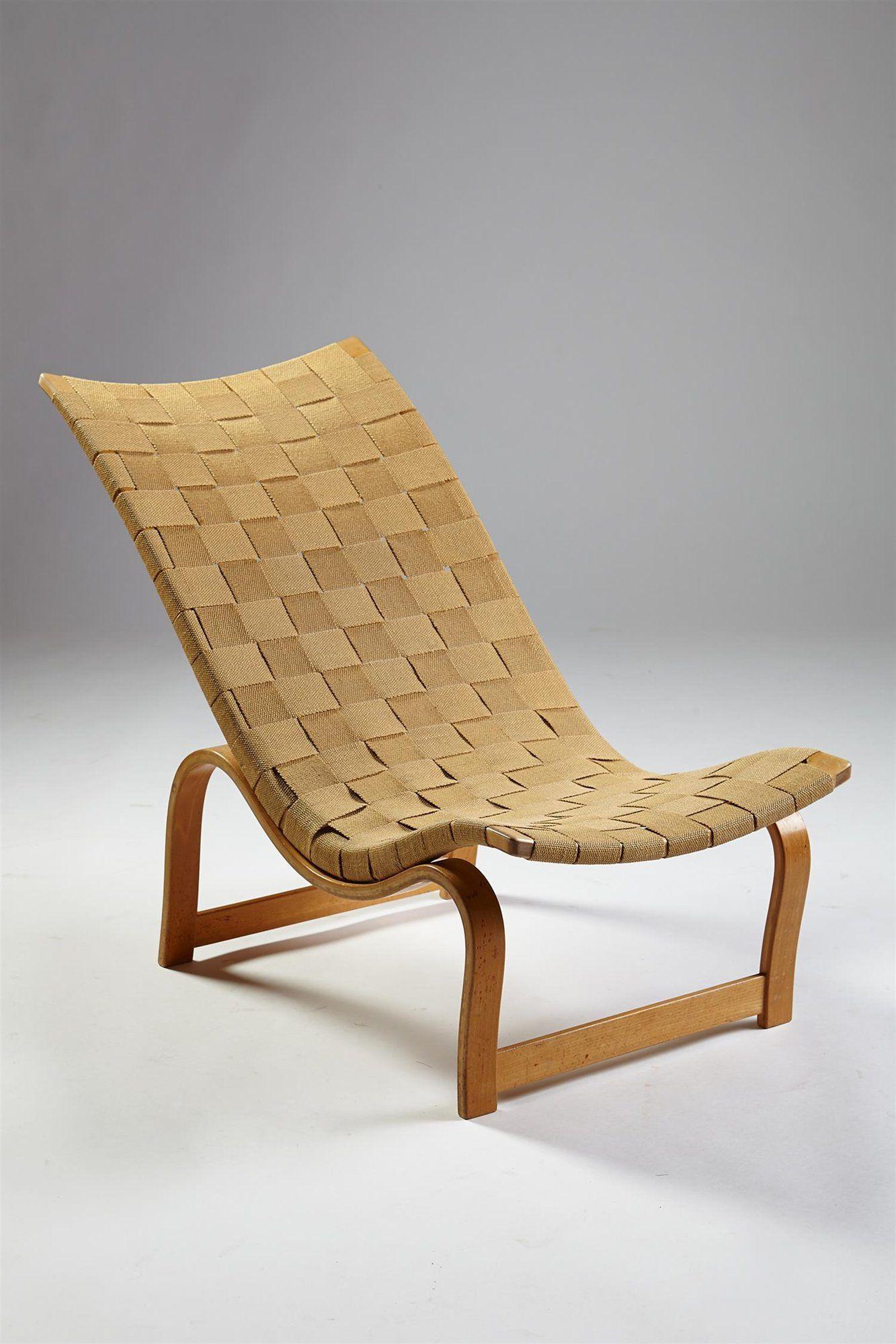 bruno mathsson for karl mathsson birch hemp webbing easy chair