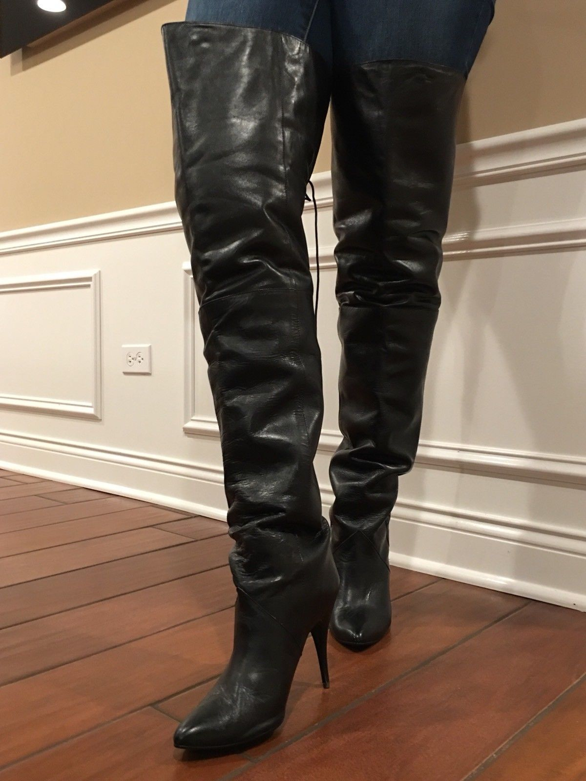 "a11fba974 New Sexy Rare Vintage 31"" WILD PAIR Black Leather Thigh High Boots Over The  Knee"