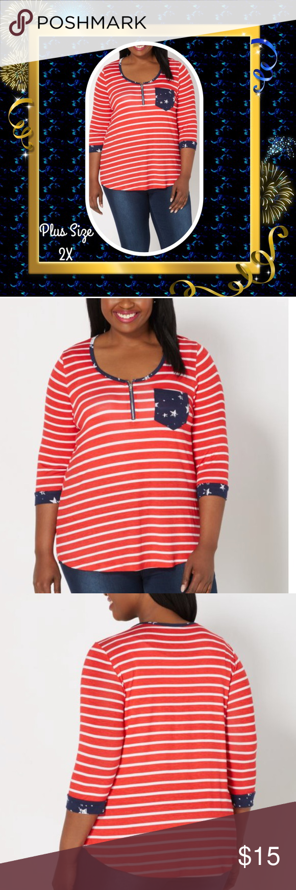 Plus Stars Trim Striped Zip Henley A sweet plus size top for relaxing weekday dress. Pair it with your favorite pair of jeans. Made of a super soft jersey in a red stripes print, it features navy star contrast print trim with a quarter zip at the neckline. Chest pocket. 95% Rayon, 5% Spandex. Machine wash instructions on the tag. Tops